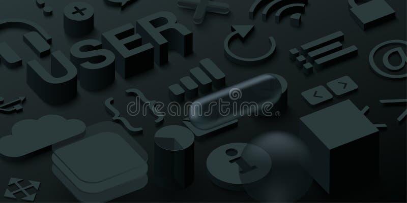 Μαύρο τρισδιάστατο υπόβαθρο χρηστών με τα σύμβολα Ιστού ελεύθερη απεικόνιση δικαιώματος