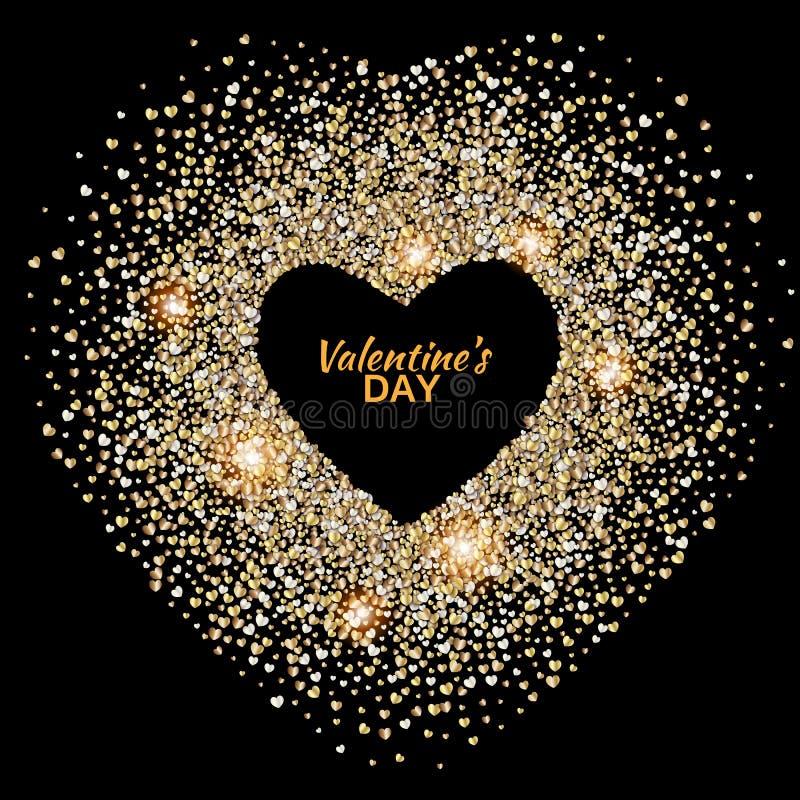 Μαύρο υπόβαθρο ημέρας βαλεντίνων διανυσματική απεικόνιση