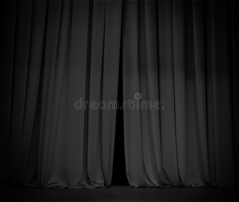 Μαύρο υπόβαθρο κουρτινών ανοικτό λίγο στοκ φωτογραφίες με δικαίωμα ελεύθερης χρήσης