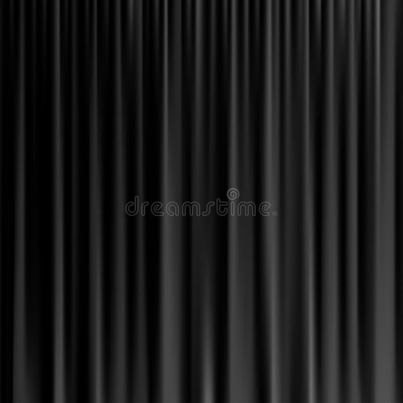 Μαύρο υπόβαθρο κουρτινών Διανυσματική ρεαλιστική μαύρη κουρτίνα διανυσματική απεικόνιση