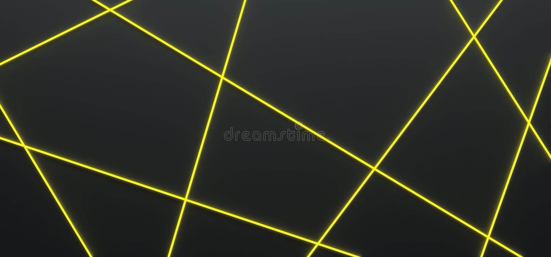 Μαύρο υπόβαθρο με τις φωτεινές κίτρινες γραμμές - τρισδιάστατη απεικόνιση ελεύθερη απεικόνιση δικαιώματος