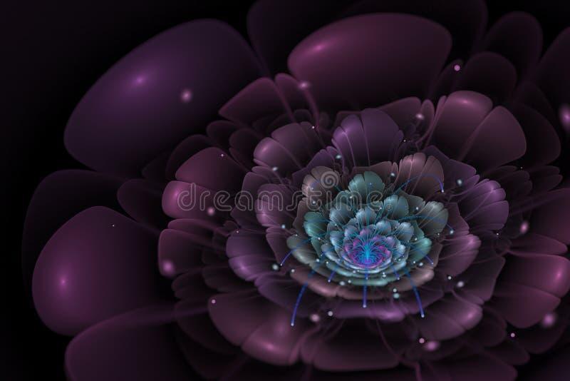 Μαύρο υπόβαθρο με το πορφυρό και τυρκουάζ λουλούδι στο κέντρο διανυσματική απεικόνιση