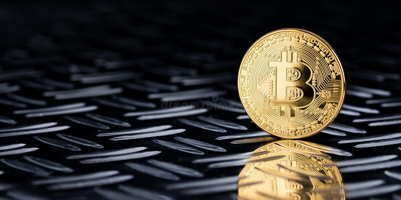 Μαύρο υπόβαθρο πανοράματος bitcoin στοκ εικόνες
