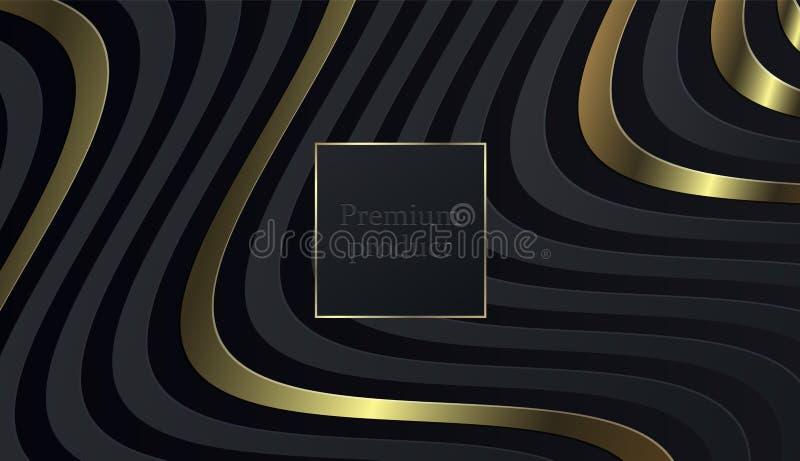 Μαύρο υπόβαθρο περικοπών εγγράφου Αφηρημένη ρεαλιστική βαλμένη σε στρώσεις papercut διακόσμηση κατασκευασμένη με το χρυσό ημίτονο ελεύθερη απεικόνιση δικαιώματος