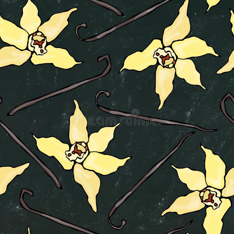 Μαύρο υπόβαθρο πινάκων Ραβδί βανίλιας και άνευ ραφής ατελείωτο σχέδιο λουλουδιών Λοβός βανίλιας και εποχιακό υπόβαθρο ανθών Καρύκ διανυσματική απεικόνιση