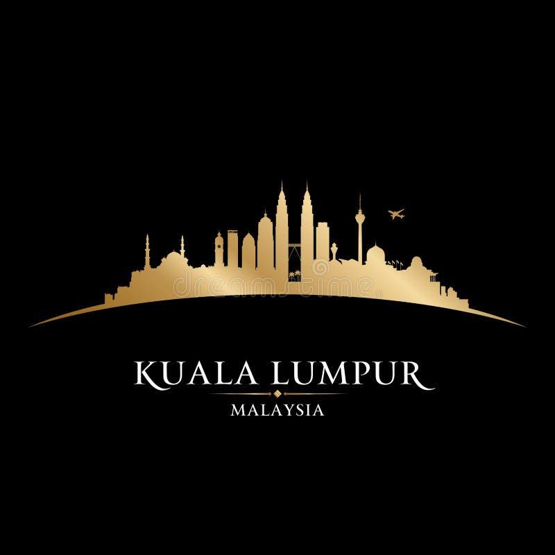 Μαύρο υπόβαθρο σκιαγραφιών οριζόντων πόλεων της Κουάλα Λουμπούρ Μαλαισία ελεύθερη απεικόνιση δικαιώματος