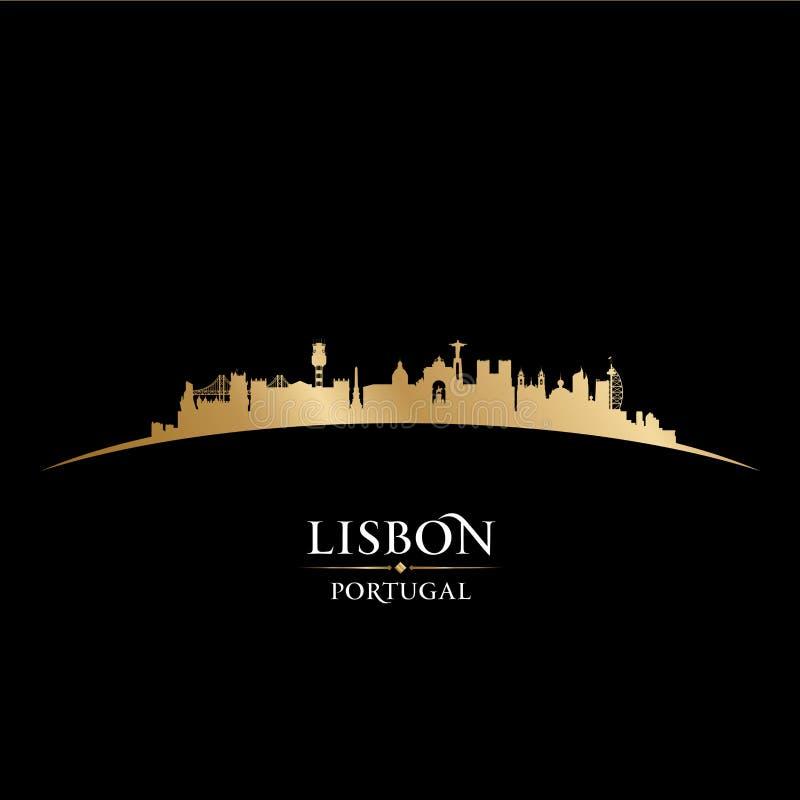 Μαύρο υπόβαθρο σκιαγραφιών οριζόντων πόλεων της Λισσαβώνας Πορτογαλία απεικόνιση αποθεμάτων