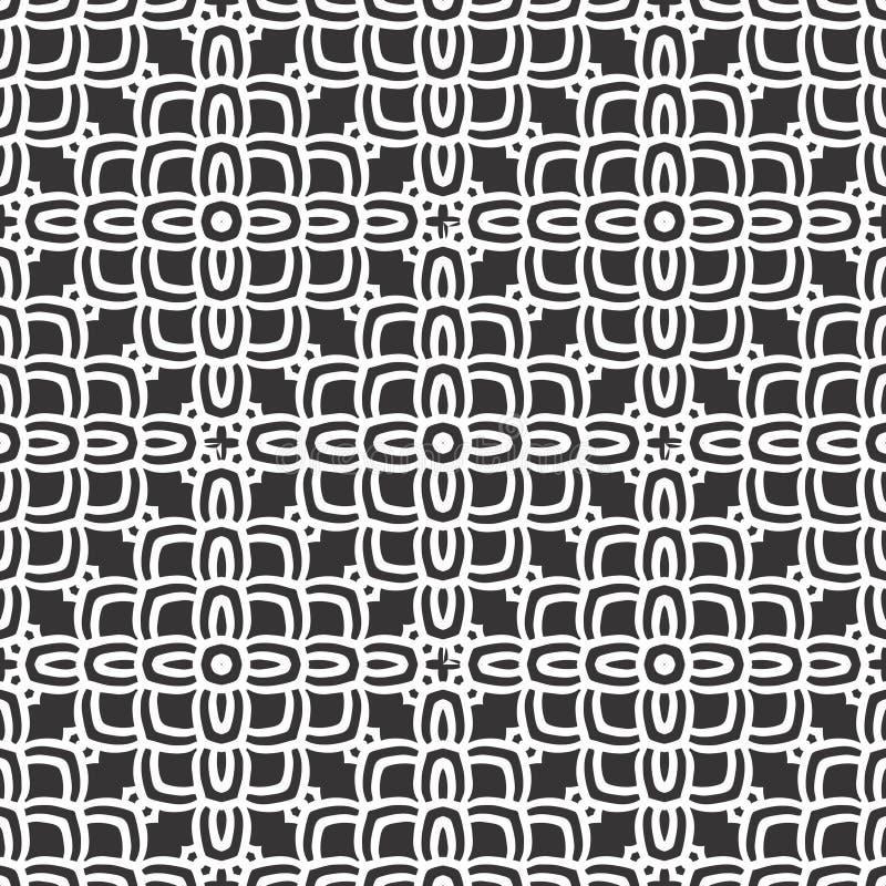Μαύρο υπόβαθρο σχεδίων λουλουδιών ν άσπρο γεωμετρικό διανυσματική απεικόνιση