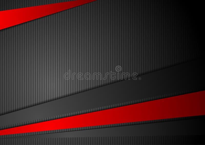 Μαύρο υπόβαθρο τεχνολογίας με τα κόκκινα λωρίδες αντίθεσης διανυσματική απεικόνιση