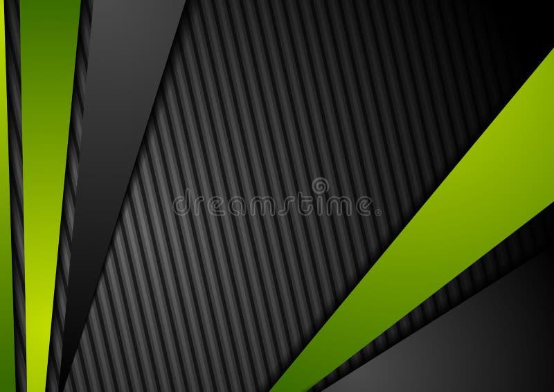 Μαύρο υπόβαθρο τεχνολογίας με τα πράσινα λωρίδες αντίθεσης απεικόνιση αποθεμάτων