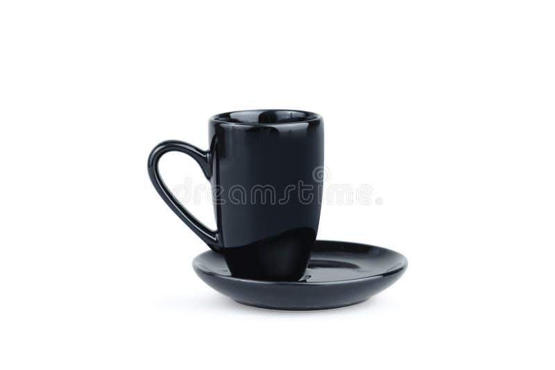 Μαύρο φλυτζάνι καφέ Espresso που απομονώνεται στο λευκό Γυαλί πορσελάνης στοκ φωτογραφία με δικαίωμα ελεύθερης χρήσης