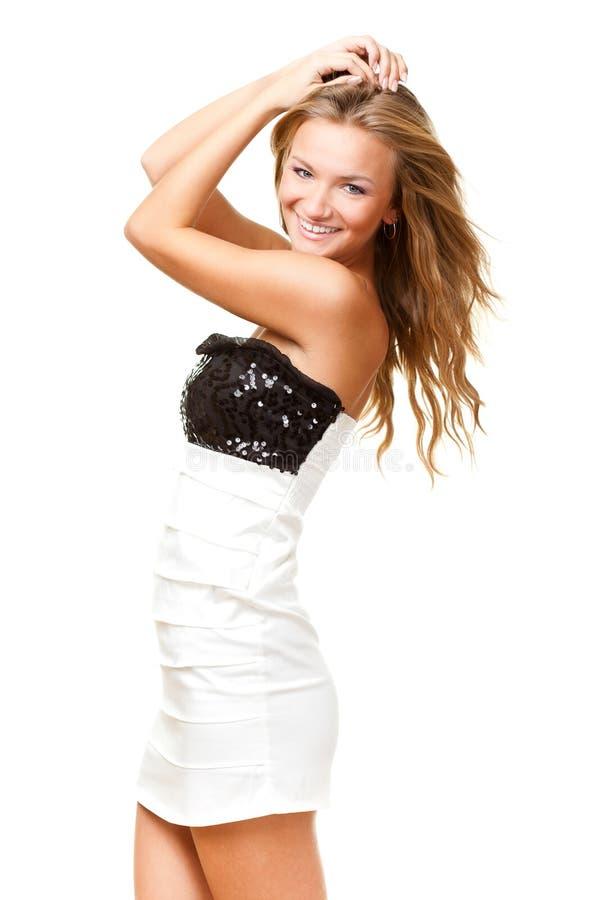 μαύρο φόρεμα που φορά τη λ&epsilon στοκ εικόνες
