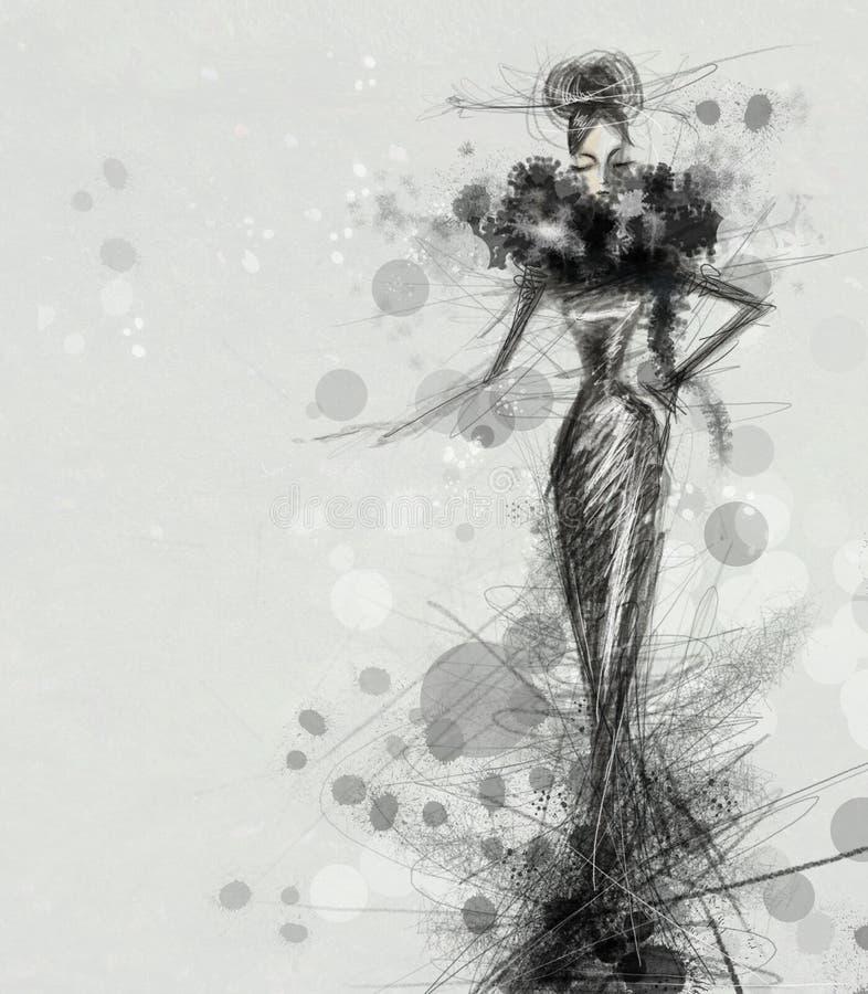 μαύρο φόρεμα διανυσματική απεικόνιση