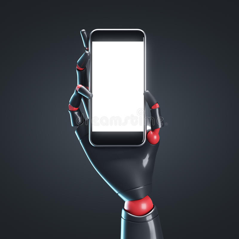 Μαύρο χέρι ρομπότ με ένα smartphone, μαύρο ελεύθερη απεικόνιση δικαιώματος