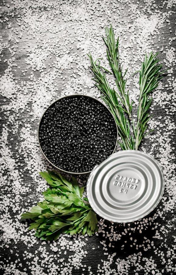 Μαύρο χαβιάρι σε ένα βάζο με τα χορτάρια και το άλας στοκ εικόνα