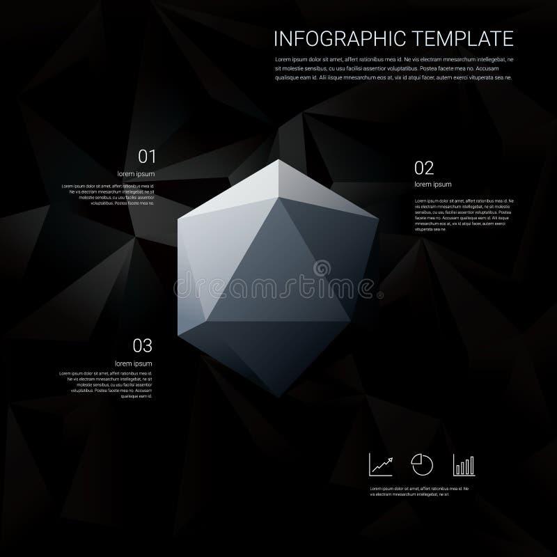 Μαύρο χαμηλό πολυ υπόβαθρο με τις επιλογές επιλογών infographics για τις επιχειρησιακές παρουσιάσεις Άσπρο γεωμετρικό διαμάντι εξ απεικόνιση αποθεμάτων