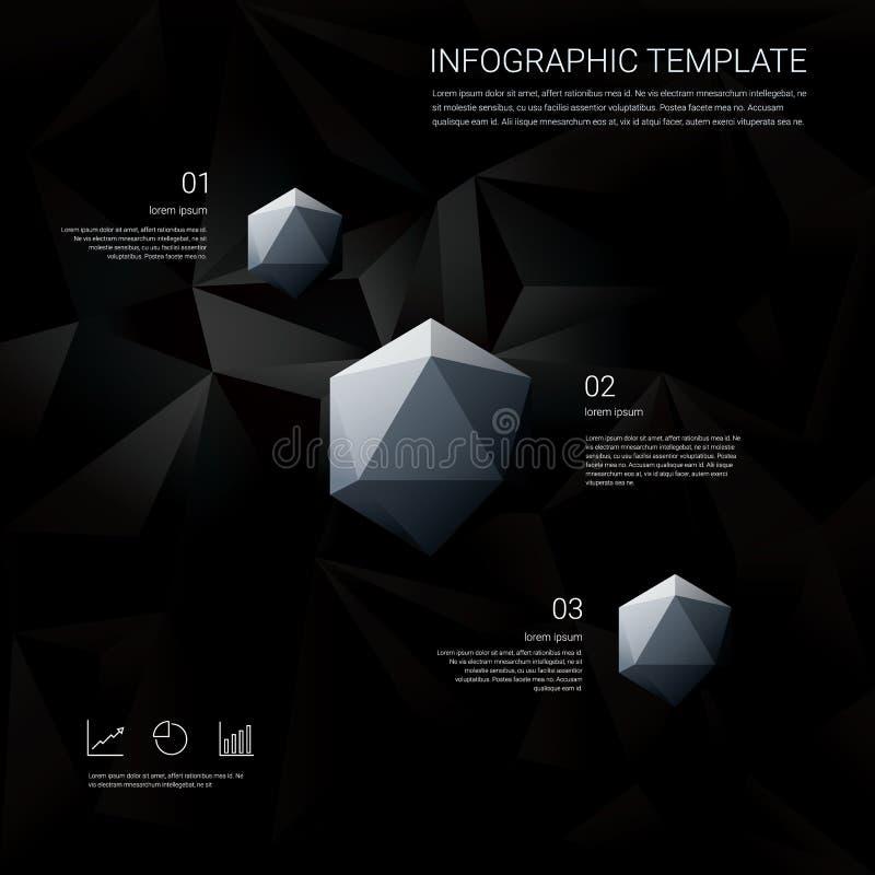 Μαύρο χαμηλό πολυ υπόβαθρο με τις επιλογές επιλογών infographics για τις επιχειρησιακές παρουσιάσεις Άσπρο γεωμετρικό διαμάντι εξ διανυσματική απεικόνιση