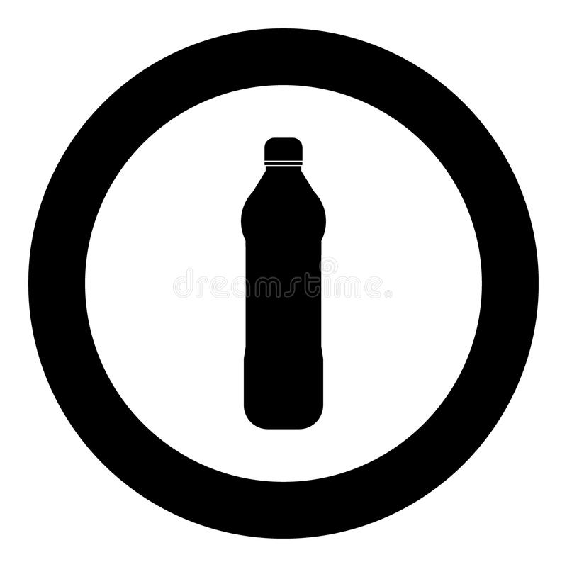 Μαύρο χρώμα εικονιδίων μπουκαλιών νερού πλαστικό στον κύκλο ή τον κύκλο διανυσματική απεικόνιση