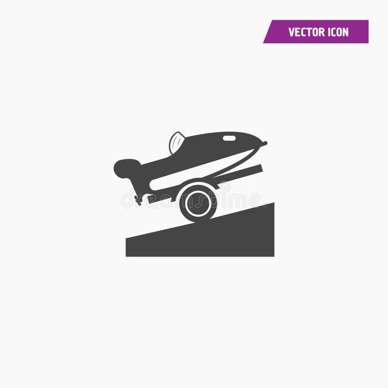 Μαύρο biplane κινούμενων σχεδίων εικονίδιο, πλάγια όψη διανυσματική απεικόνιση