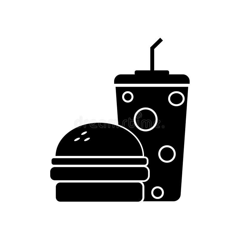 Μαύρο burger με την κόλα διανυσματική απεικόνιση