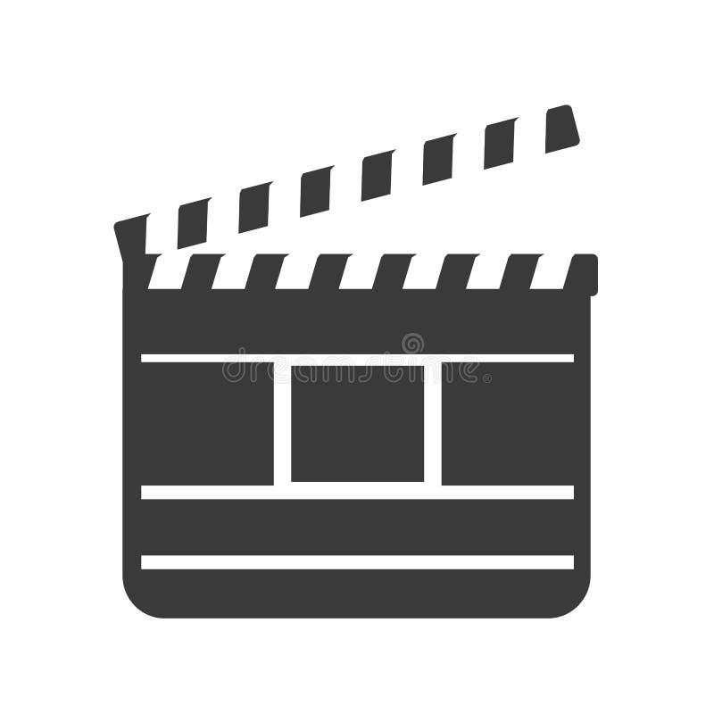 Μαύρο clapper ταινιών εικονίδιο πλακών πινάκων r στοκ εικόνα