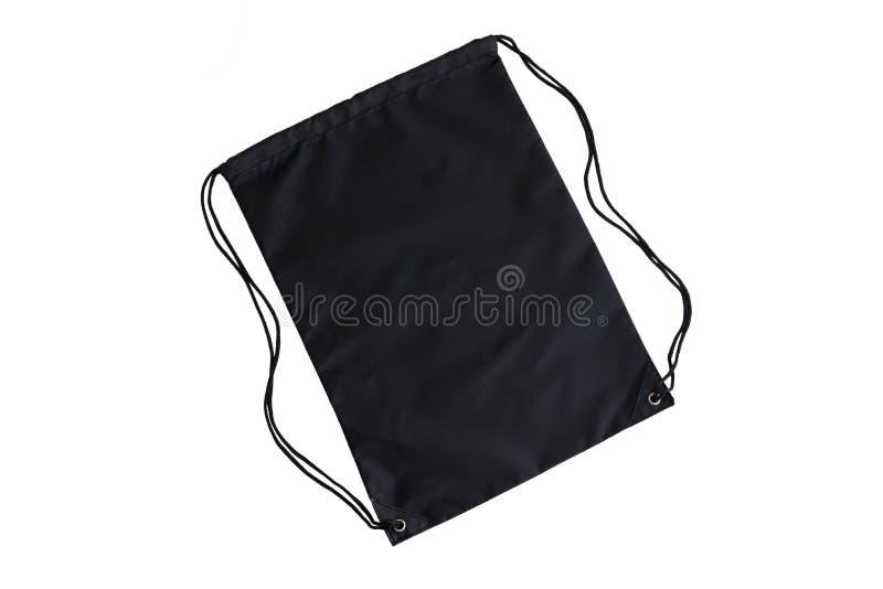 Μαύρο drawstring πρότυπο πακέτων, πρότυπο της τσάντας για τα αθλητικά παπούτσια που απομονώνονται στο λευκό στοκ εικόνες