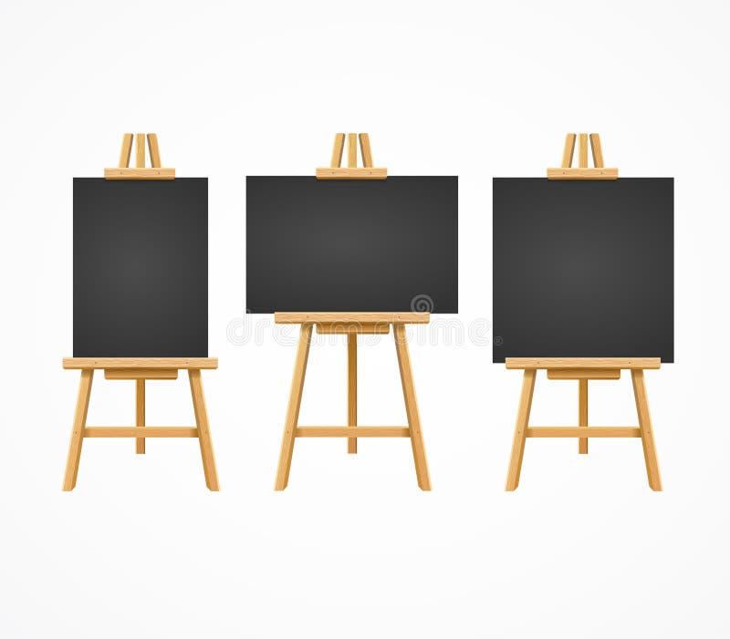 Μαύρο Easel πινάκων κενό κενό σύνολο προτύπων διάνυσμα απεικόνιση αποθεμάτων