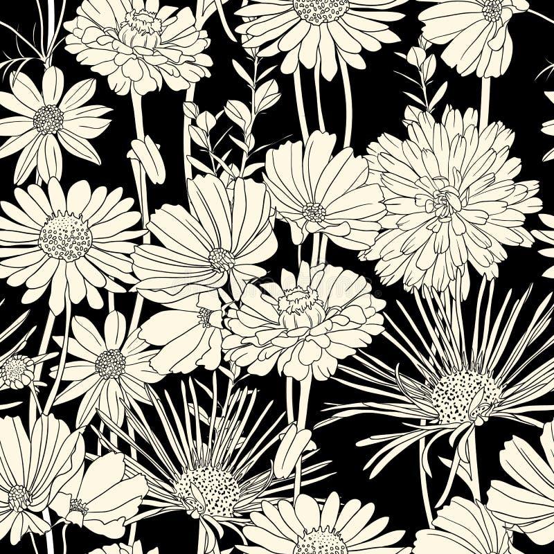 μαύρο floral άνευ ραφής λευκό προτύπων διανυσματική απεικόνιση