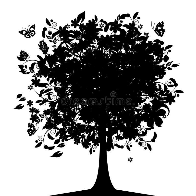 μαύρο floral δέντρο σκιαγραφιών απεικόνιση αποθεμάτων