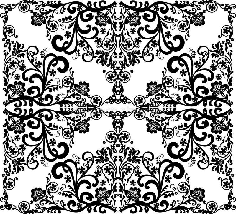 μαύρο floral τετραγωνικό λευ&kappa απεικόνιση αποθεμάτων