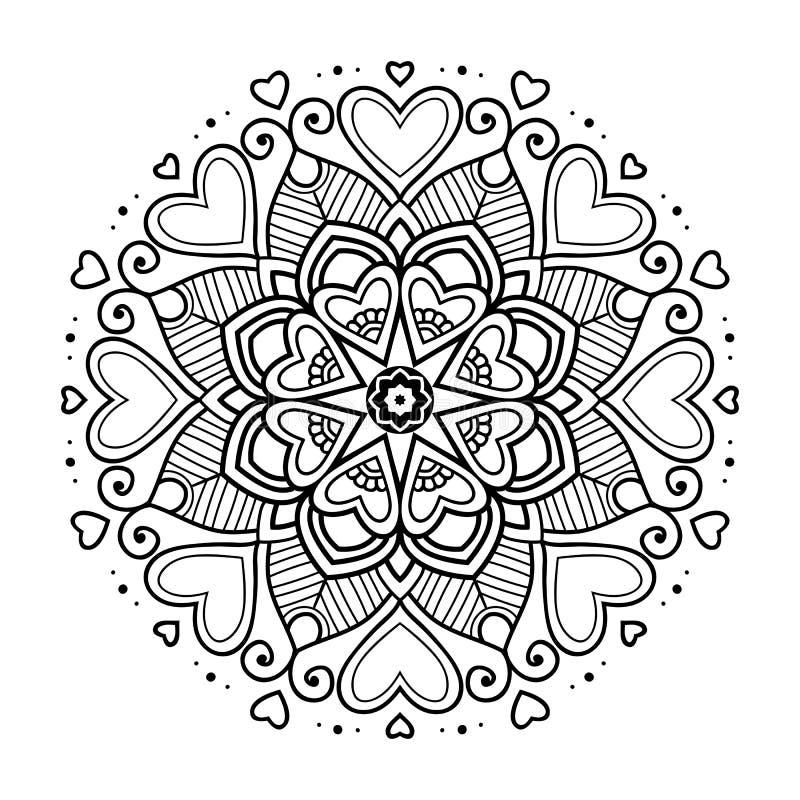 Μαύρο floral mandala με τις καρδιές στοκ εικόνα