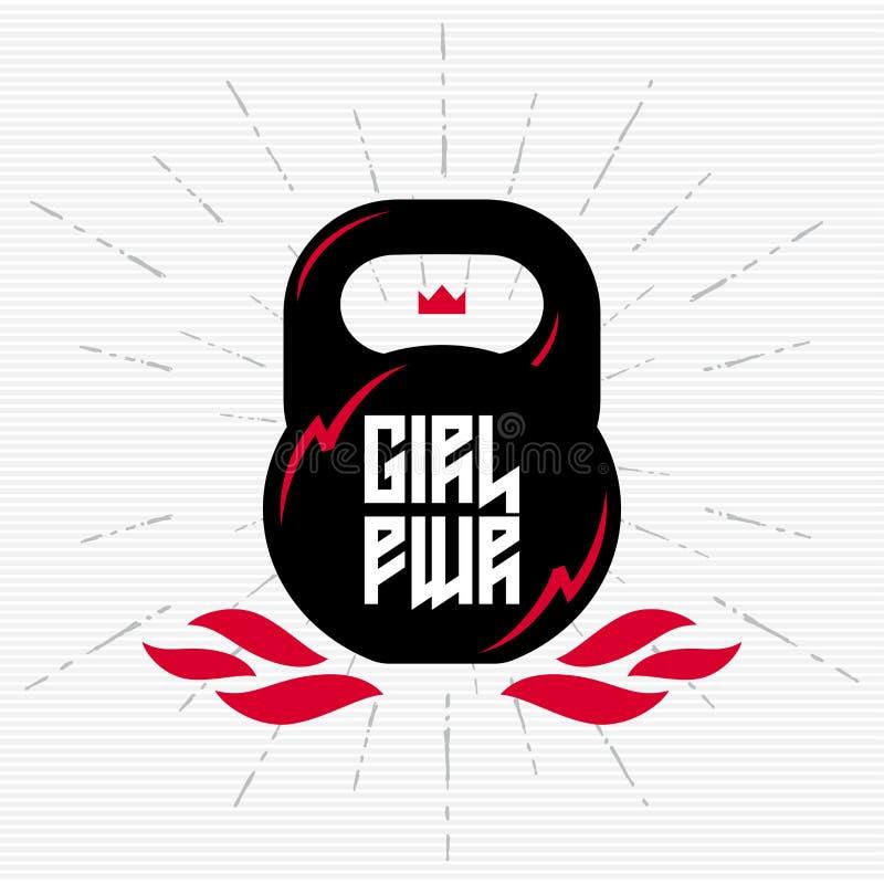 Μαύρο kettlebell με το φεμινιστικό σύνθημα - δύναμη κοριτσιών Διανυσματικό illu ελεύθερη απεικόνιση δικαιώματος