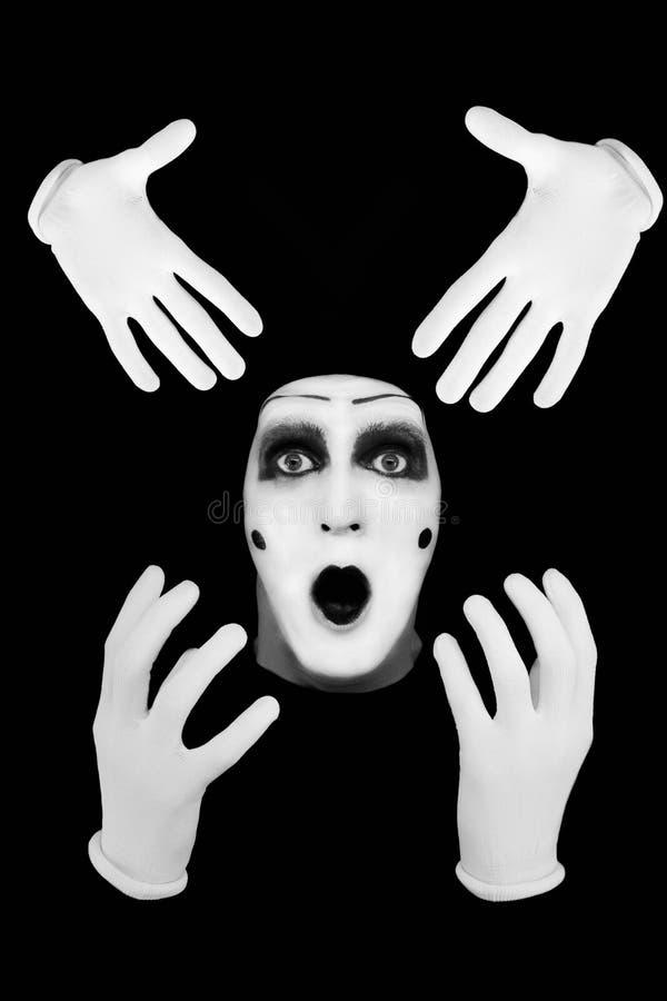 μαύρο mime ανασκόπησης έκπληκτο στοκ φωτογραφία με δικαίωμα ελεύθερης χρήσης
