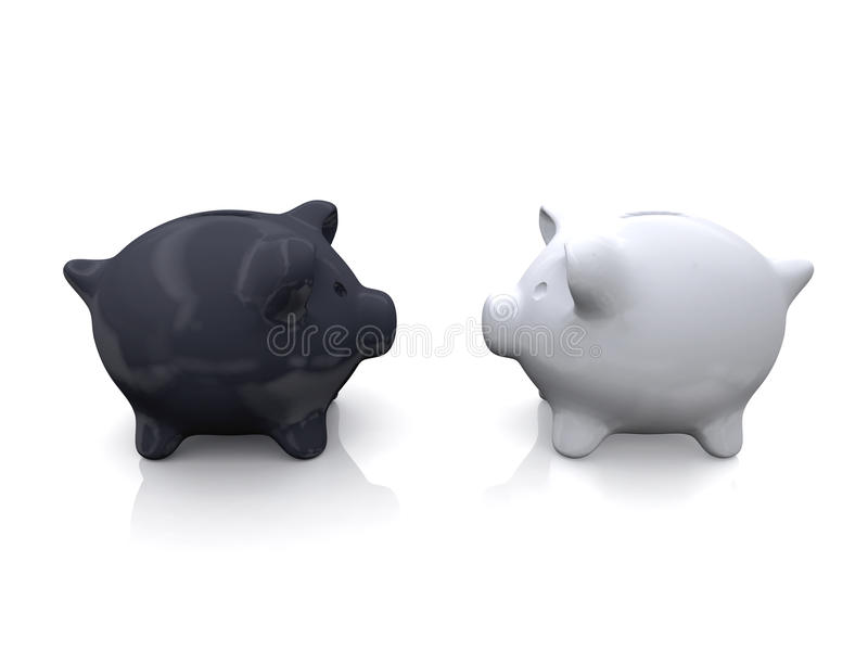 μαύρο piggy λευκό τραπεζών στοκ εικόνα