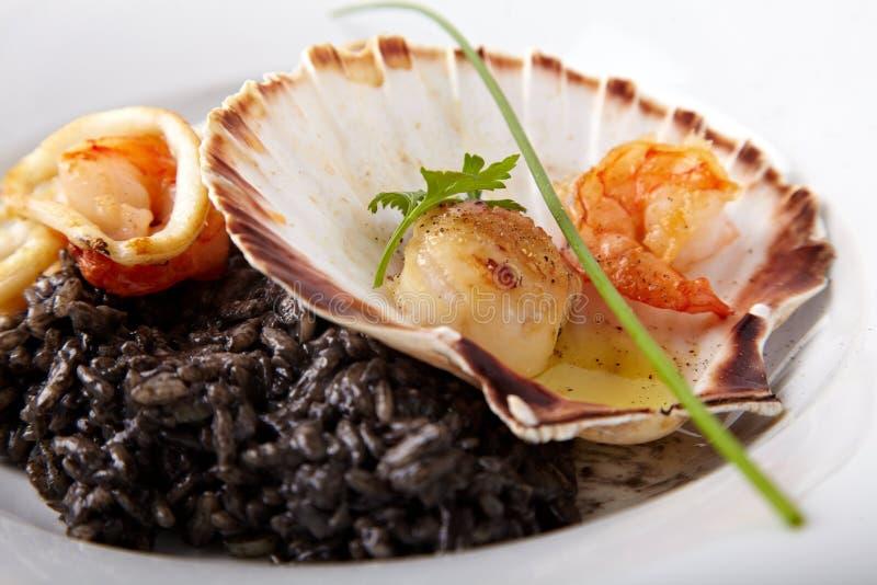 Μαύρο risotto με τα θαλασσινά που εξυπηρετούνται σε ένα κοχύλι στοκ εικόνα