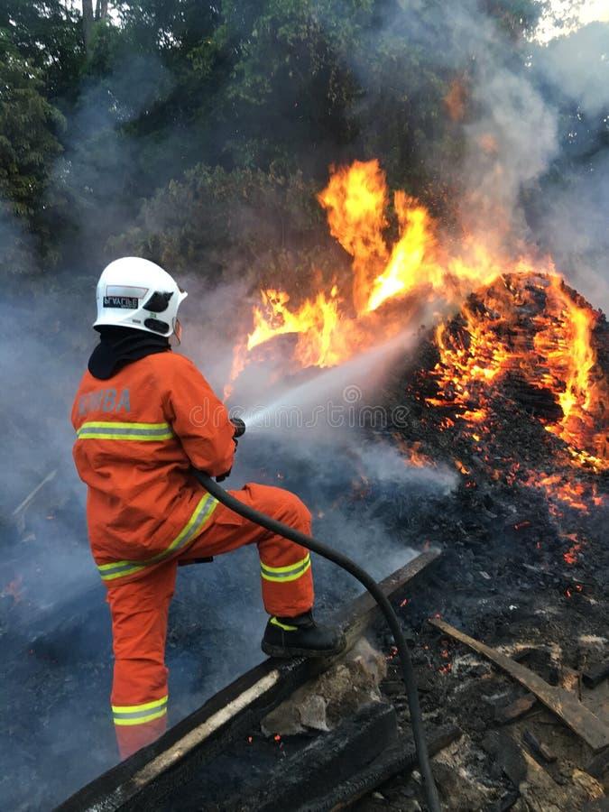 Μαλαισιανό τμήμα Resque πυρκαγιάς στη δράση στοκ εικόνες