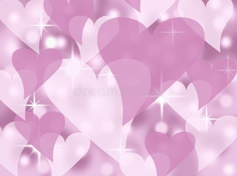 Μαλακή ρόδινη και άσπρη αφηρημένη απεικόνιση υποβάθρου καρτών ημέρας βαλεντίνων καρδιών με τα αστράφτοντας αστέρια ελεύθερη απεικόνιση δικαιώματος
