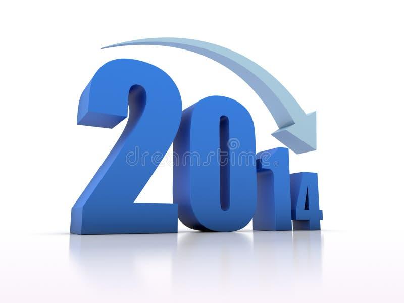 Μείωση 2014 με το βέλος ελεύθερη απεικόνιση δικαιώματος