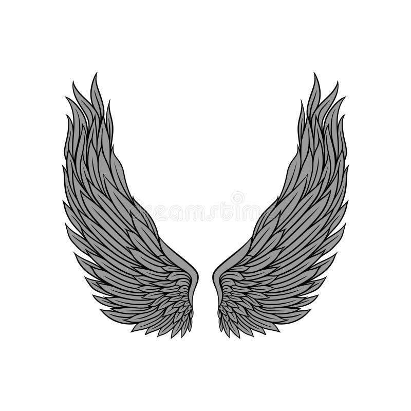 Μεγάλα γκρίζα φτερά φτερών αγγέλου και μαύρο περίγραμμα Σχέδιο δερματοστιξιών παλιού σχολείου Επίπεδο διάνυσμα για την αυτοκόλλητ ελεύθερη απεικόνιση δικαιώματος