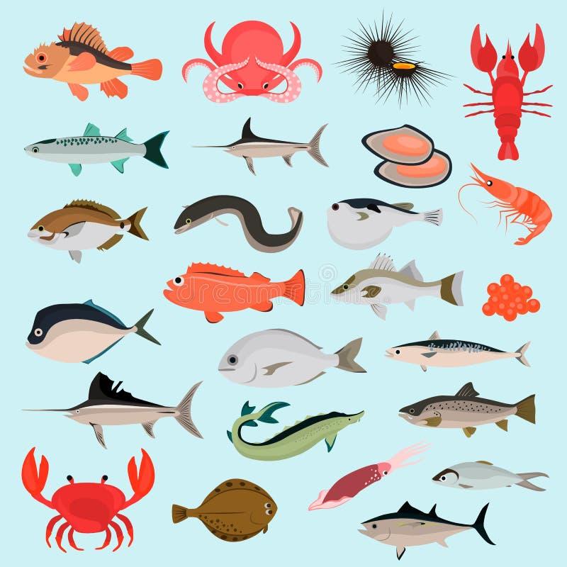 Μεγάλα ζώα θάλασσας χρώματος επίπεδα και εικονίδια τροφίμων για τον Ιστό και το κινητό σχέδιο ελεύθερη απεικόνιση δικαιώματος