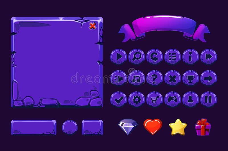 Μεγάλα καθορισμένα προτερήματα πετρών νέου κινούμενων σχεδίων πορφυρά και κουμπιά για το παιχνίδι Ui, εικονίδια GUI ελεύθερη απεικόνιση δικαιώματος