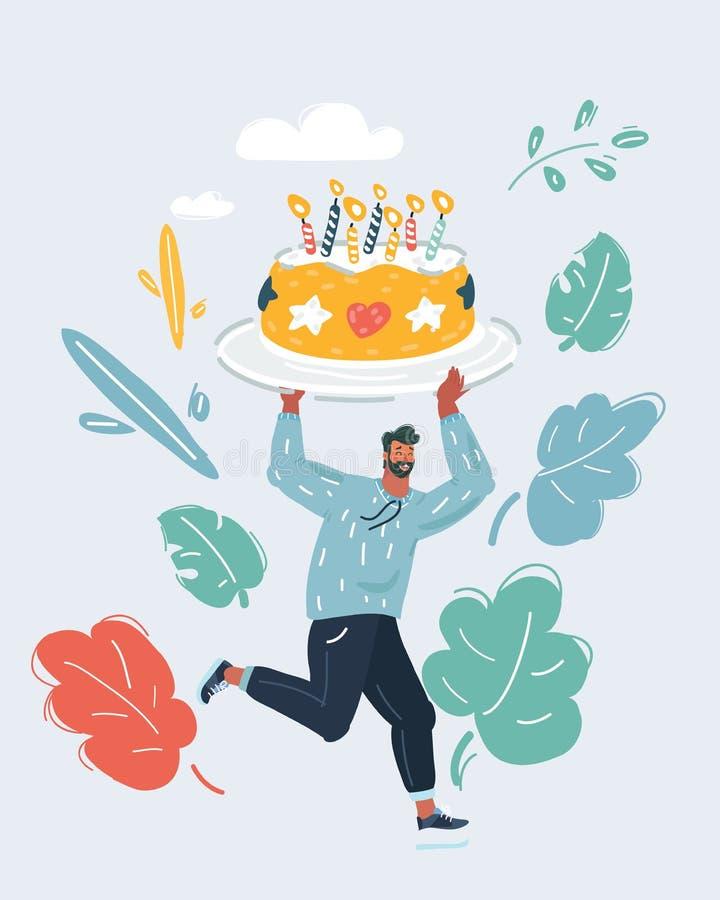 Μεγάλα κινούμενα σχέδια κέικ γιορτής γενεθλίων διανυσματική απεικόνιση