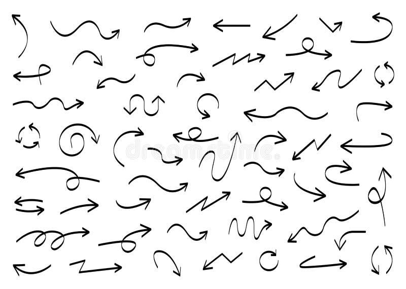 Μεγάλα μαύρα καθορισμένα εικονίδια βελών Εικονίδιο βελών Διανυσματική συλλογή βελών Βέλος Δρομέας Συρμένα χέρι βέλη Doodle r διανυσματική απεικόνιση