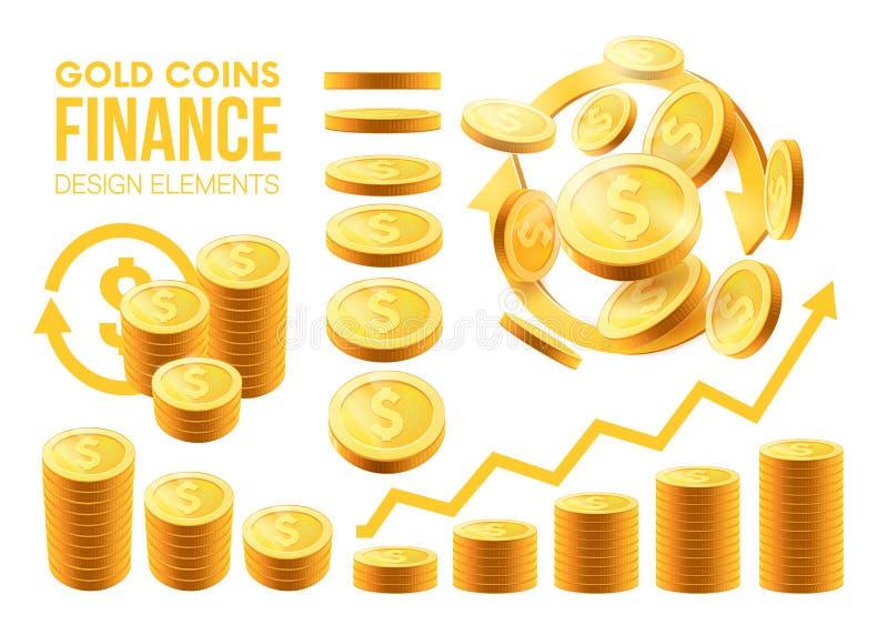 Μεγάλα ρεαλιστικά χρυσά νομίσματα συνόλου νομίσματα στις διαφορετικές θέσεις, φραγμοί νομισμάτων στοιχεία για το σχέδιό σας που α ελεύθερη απεικόνιση δικαιώματος