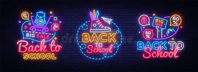 Μεγάλα σημάδια νέου collectin για πίσω στο σχολείο Διάνυσμα εμβλημάτων νέου Πίσω στο πρότυπο σχολικού σχεδίου, σύγχρονο σχέδιο τά απεικόνιση αποθεμάτων