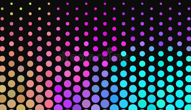 Μεγάλα σημεία Πόλκα στο σκοτεινό υπόβαθρο Φωτεινά χρώματα νέου Ζωηρή κλίση αφηρημένο γεωμετρικό πρότυπο ελεύθερη απεικόνιση δικαιώματος