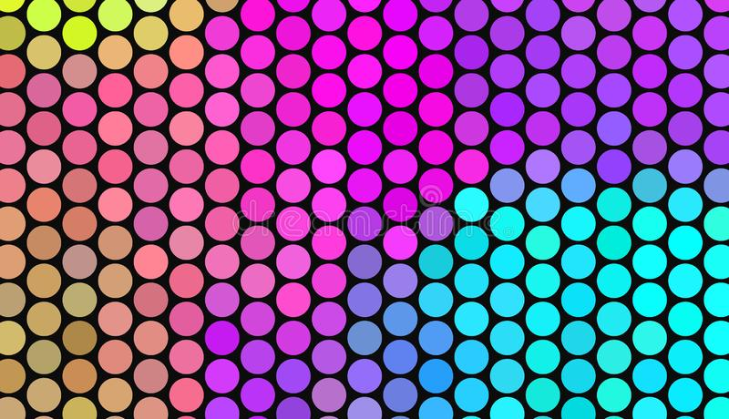 Μεγάλα σημεία Πόλκα στο σκοτεινό υπόβαθρο Φωτεινά χρώματα νέου Ζωηρή κλίση αφηρημένο γεωμετρικό πρότυπο διανυσματική απεικόνιση