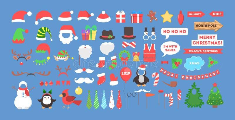 Μεγάλα στηρίγματα γιορτών Χριστουγέννων για το σύνολο photobooth ελεύθερη απεικόνιση δικαιώματος
