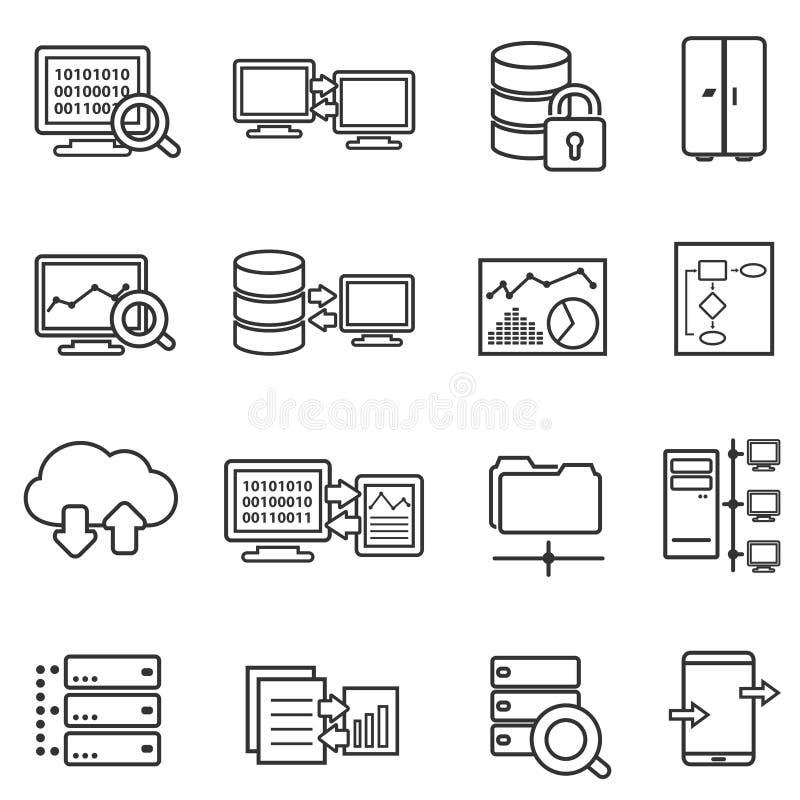 Μεγάλα στοιχεία, ανάλυση στοιχείων και εικονίδια γραμμών ασφαλείας δεδομένων στοκ φωτογραφίες με δικαίωμα ελεύθερης χρήσης