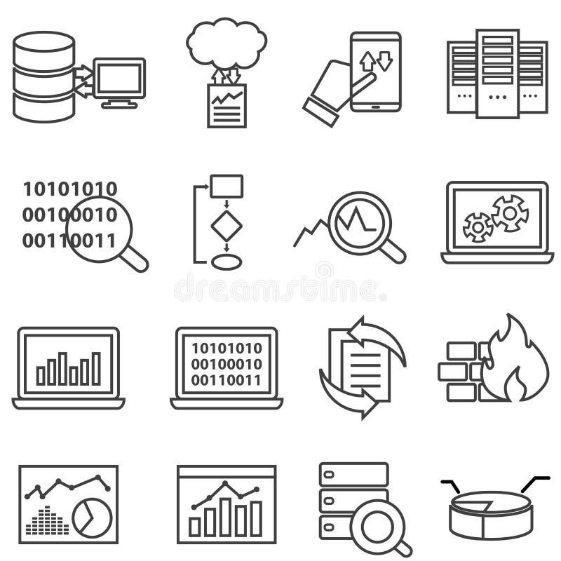 Μεγάλα στοιχεία, εκμάθηση μηχανών και εικονίδια γραμμών ανάλυσης στοιχείων απεικόνιση αποθεμάτων